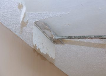 Home remodeling real repair take down scrapping a popcorn ceiling house renovation